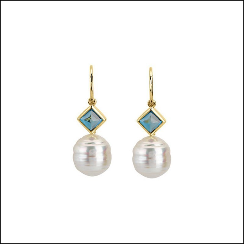 PASPALEY CULTURED PEARL & GENUINE LONDON BLUE TOPAZ