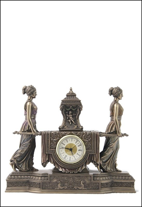 WOMEN CARRYING URN ON THE LITTER MANTEL CLOCK  - COLD