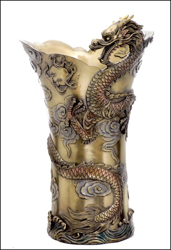 CHINESE DRAGON LARGE VASE  - COLD CAST BRONZE