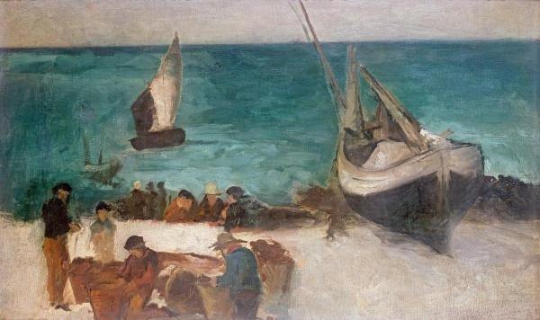 EDOUARD MANET - SEASCAPE AT BERCK; FISHING BOATS AND