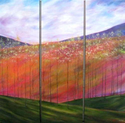 Mary Johnston  - DISTANT HILLS TRIPTYCH 45X45