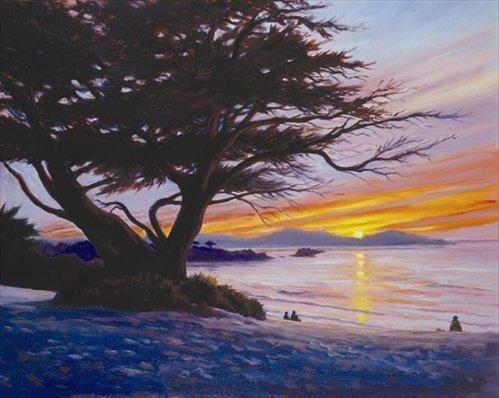 Charles White - Sunset at Carmel Beach 28x34