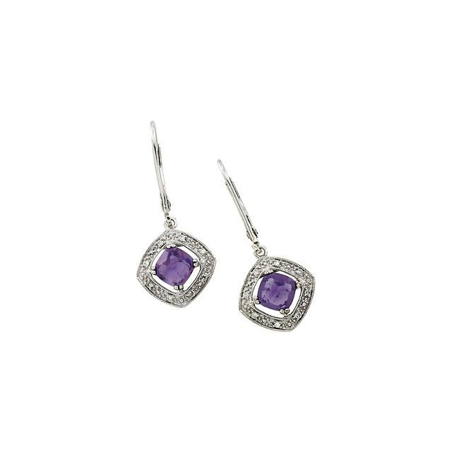 GENUINE AMETHYST & DIAMOND EARRINGS