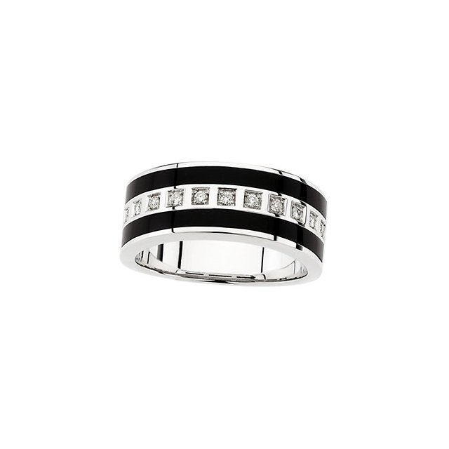 MEN'S ONYX & 1/5 CT TW DIAMOND RING