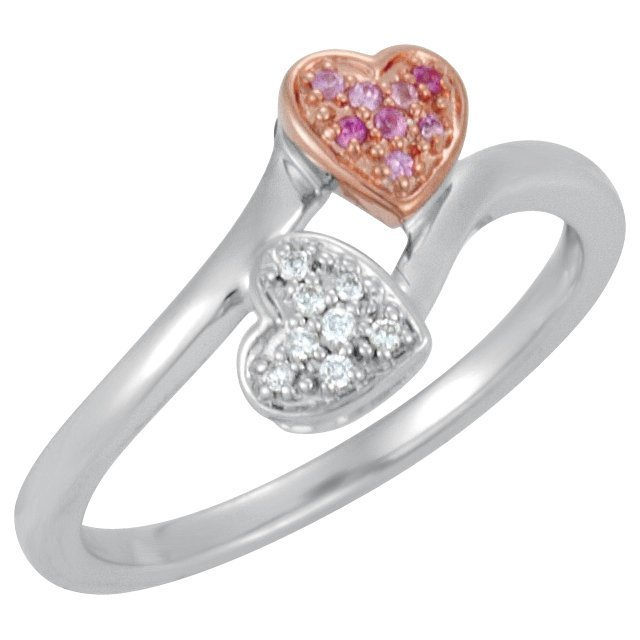 GENUINE PINK SAPPHIRE & DIAMOND HEART RING