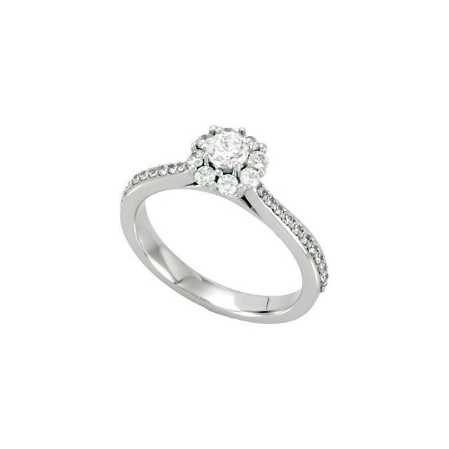 HALO-STYLED CLUSTER ENGAGEMENT RING OR MATCHING BAND