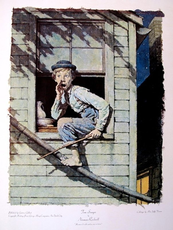 NORMAN ROCKWELL TOM SAWYER ORIGINAL COLLOTYPE