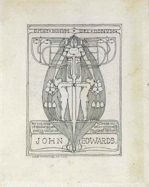 MARGARET MACDONALD MACKINTOSH - DESIGN FOR A BOOKPLATE,