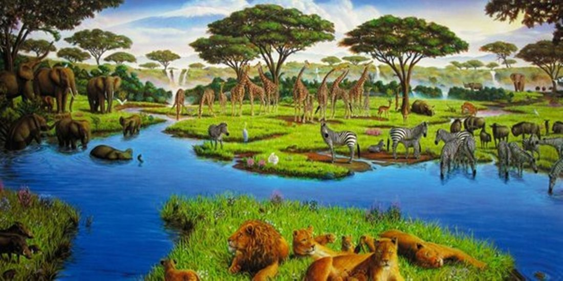 CHARLES LYNN BRAGG AFRICAN WATERING HOLE HAND SIGNED
