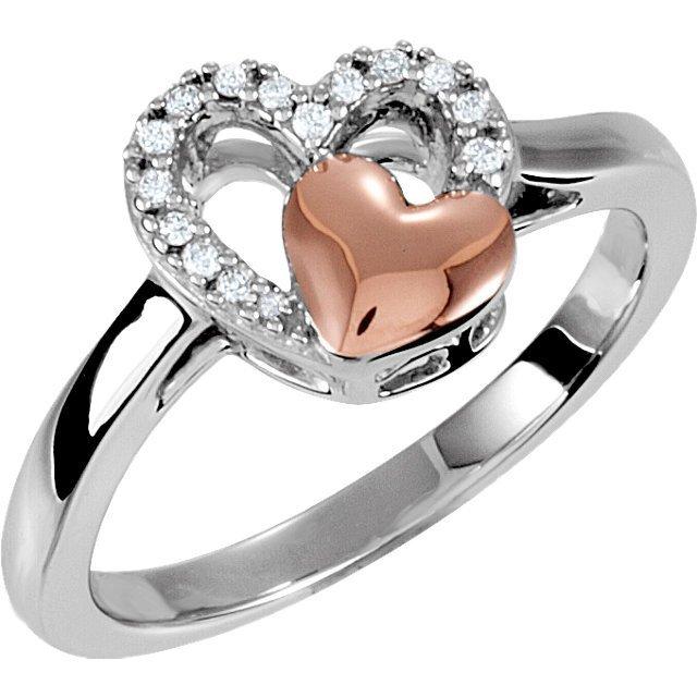 1/10 CT TW DIAMOND DOUBLE HEART DESIGN RING