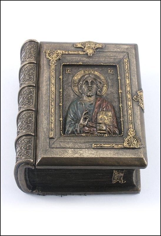 CHRIST PANTOCRATOR BOOK SHAPED TRINKET BOX - BRONZE