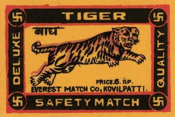 PHILLUMENART - TIGER SAFETY MATCH