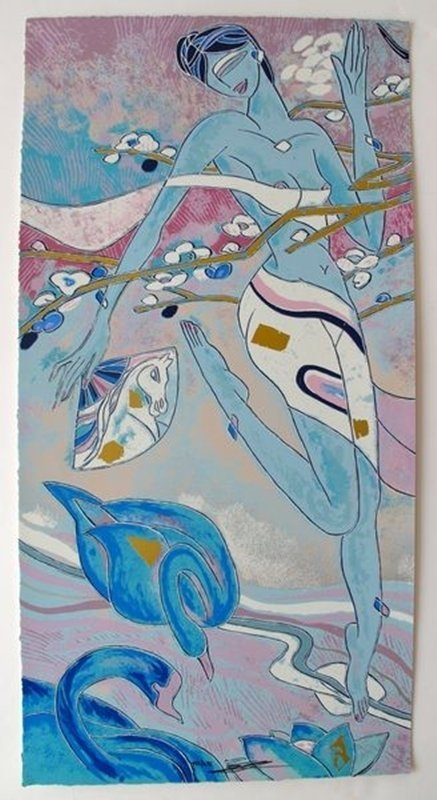 YAMIN YOUNG CHERRY BLOSSOM TIME I HAND SIGNED LIMITED