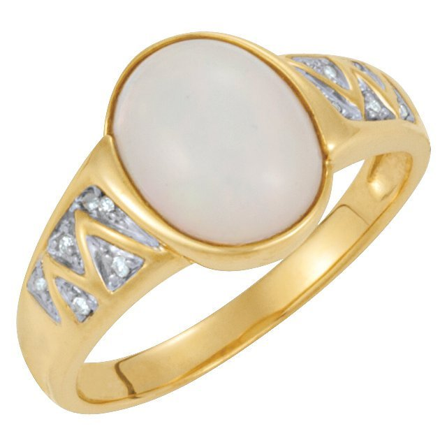 GENUINE OPAL & DIAMOND RING