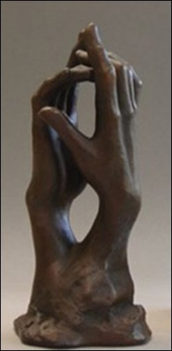 STUDY FOR THE SECRET CLASPING HANDS BY RODIN