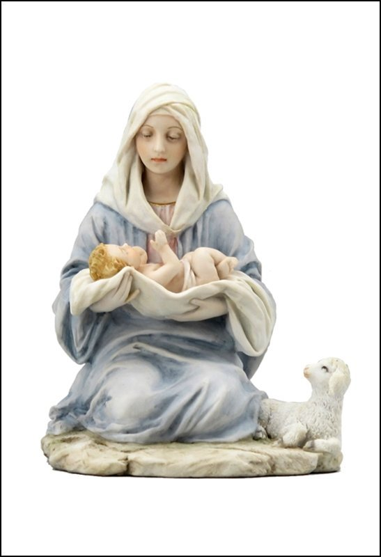 MARY KNEELING HOLDING BABY JESUS WITH LAMB ASIDE  -