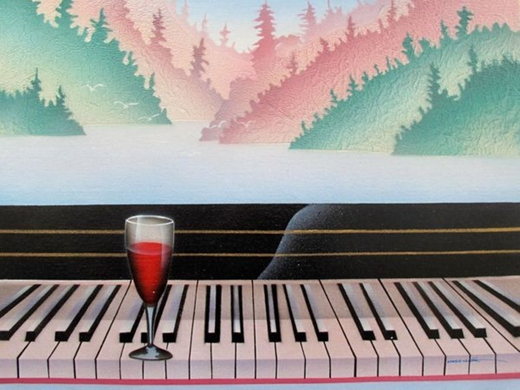 PIANO & WINE SIGNED ORIGINAL OIL PAINTING ON CANVAS