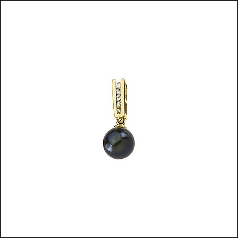 BLACK CULTURED PEARL & DIAMOND PENDANT