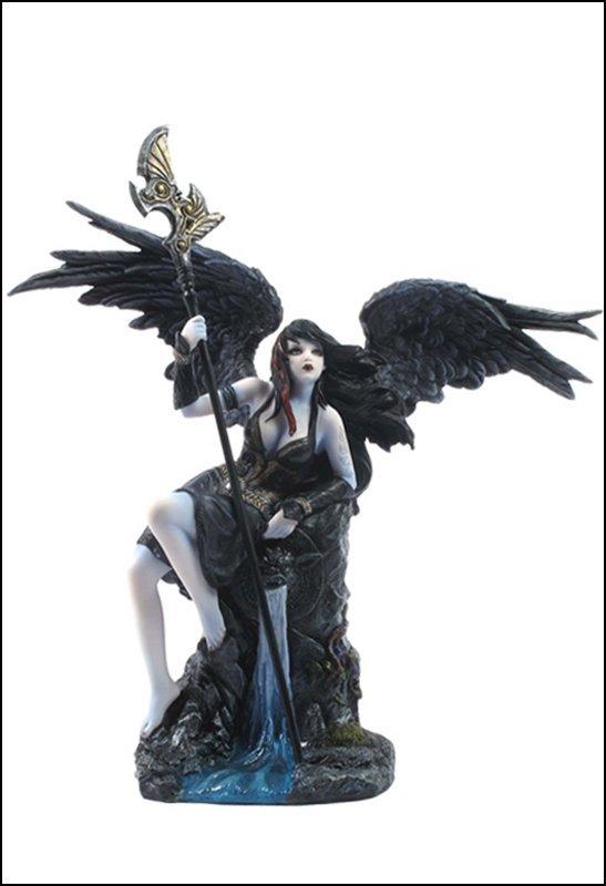 FEMALE DARK ANGEL SITTING ON GOTHIC WALL FOUNTAIN