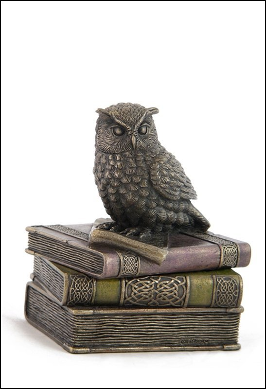 COLLARED SCOPS OWL ON BOOKS TRINKETBOX - BRONZE