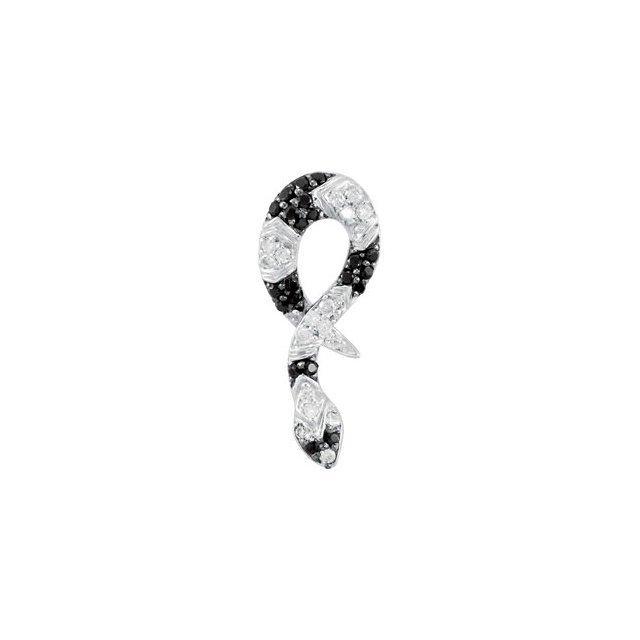 GENUINE BLACK SPINEL & DIAMOND SNAKE PENDANT OR