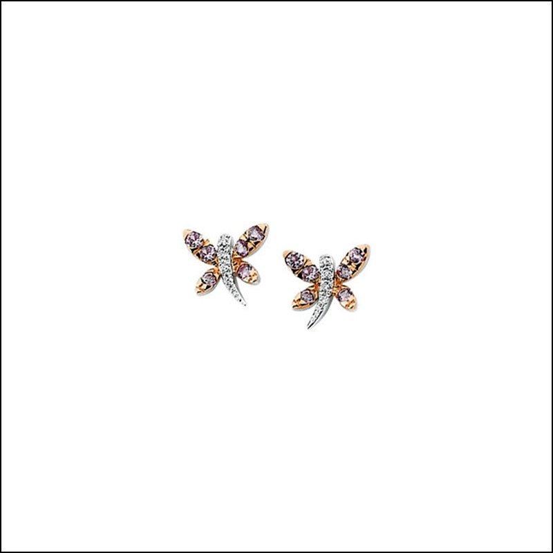 GENUINE PINK SAPPHIRE & DIAMOND DRAGONFLY EARRINGS