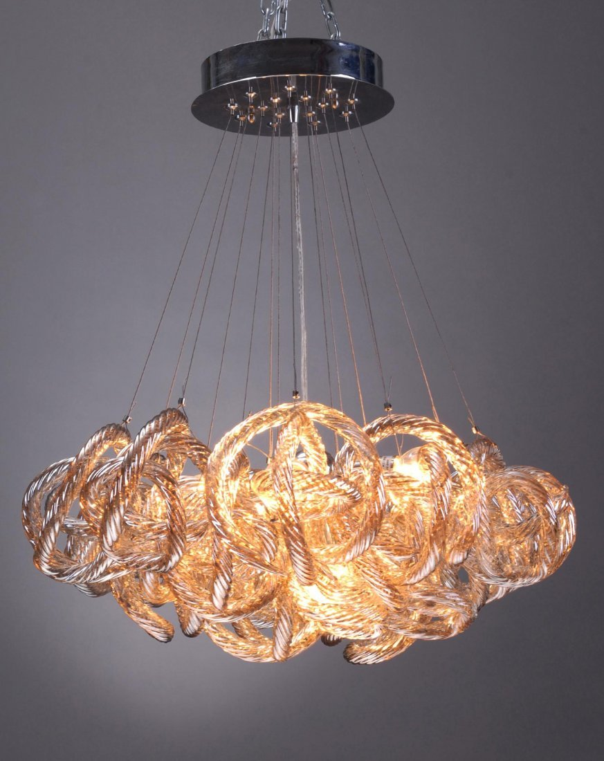 HAND BLOWN - INFINITY CHANDELIER. CHAMPAGNE GLASS.