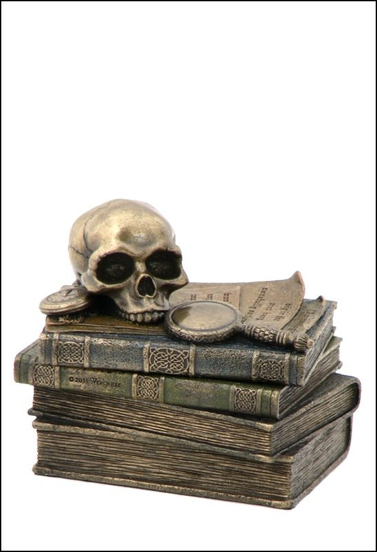 WIZARD'S STUDY TRINKET BOX WITH SKULL AND MAGNIFYING