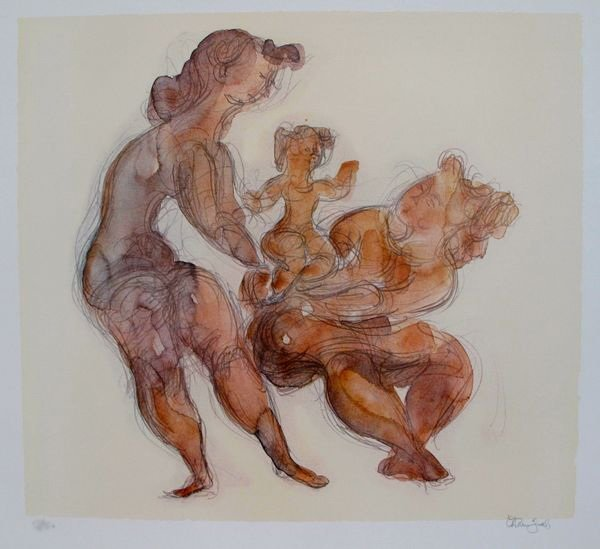 CHAIM GROSS WOMAN WITH CHILD HAND SIGNED LITHOGRAPH