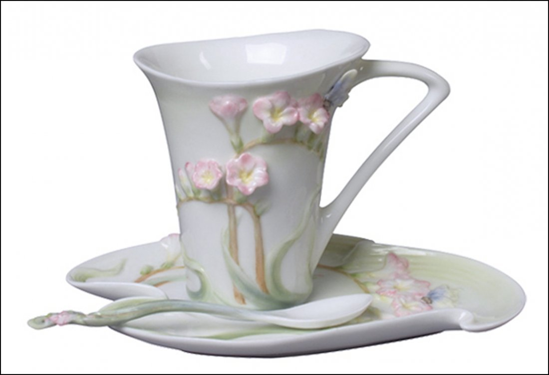 FREESIA COFFEE CUP SET WITH SPOON (PINK FLOWER)