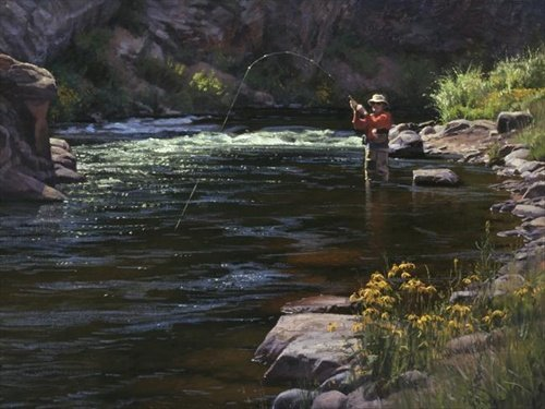 Jay Moore - Fly Fishing on the South Platte 9x12