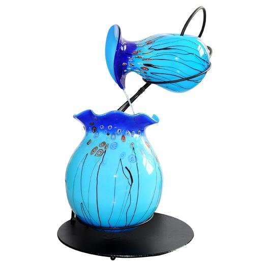 HAND BLOWN - FOUNTAIN - TWIN VASE TURQUOISE W/PUMP