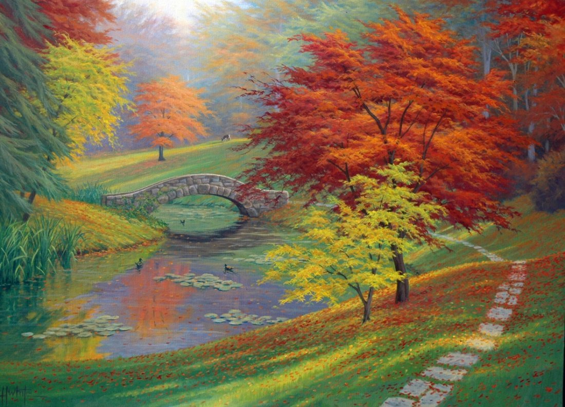 Original Charles White - The Red Trees of Autumn 30x40