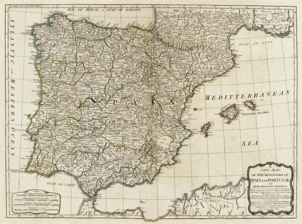 THOMAS KITCHIN - A NEW MAP OF THE KINGDOMS OF SPAIN AND