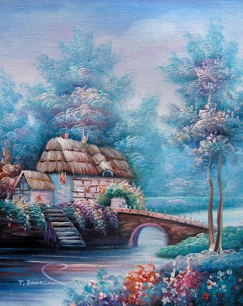 BRIDGE TO COTTAGE ON THE LAKE SIGNED ORIGINAL OIL