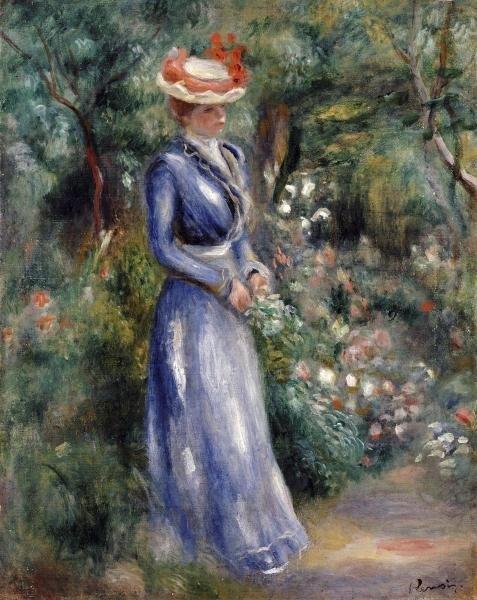 PIERRE AUGUSTE RENOIR - WOMAN IN A BLUE DRESS