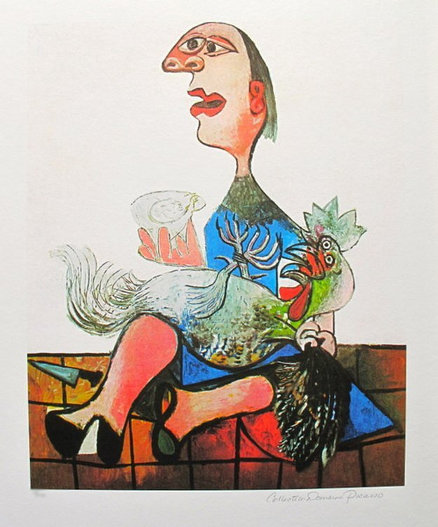 #124 WOMAN WITH ROOSTER PICASSO ESTATE SIGNED GICLÉE