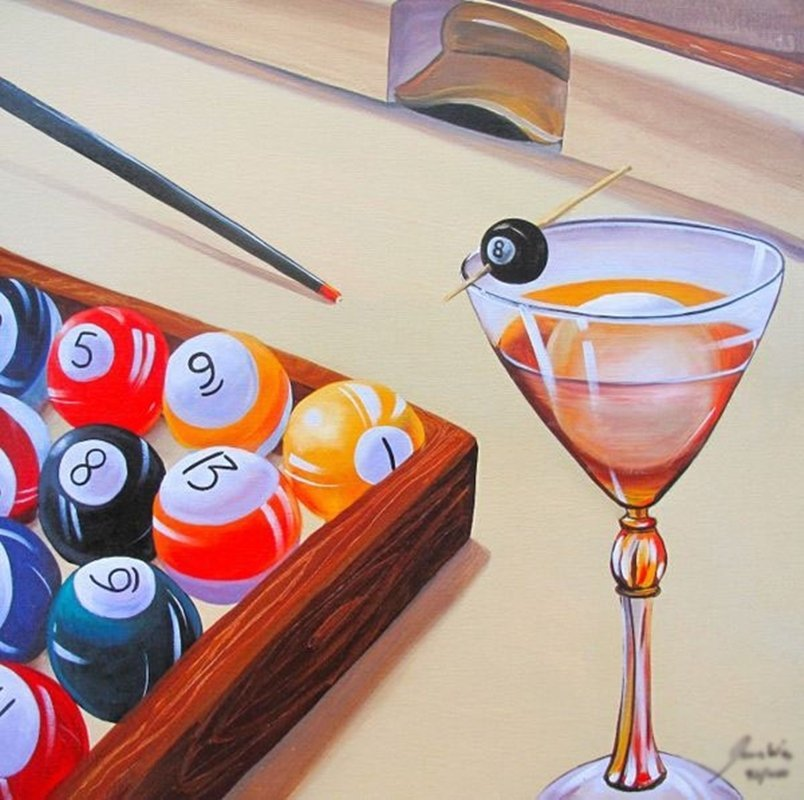 JAMES WING BILLIARD MARTINI HAND SIGNED LIMITED ED.