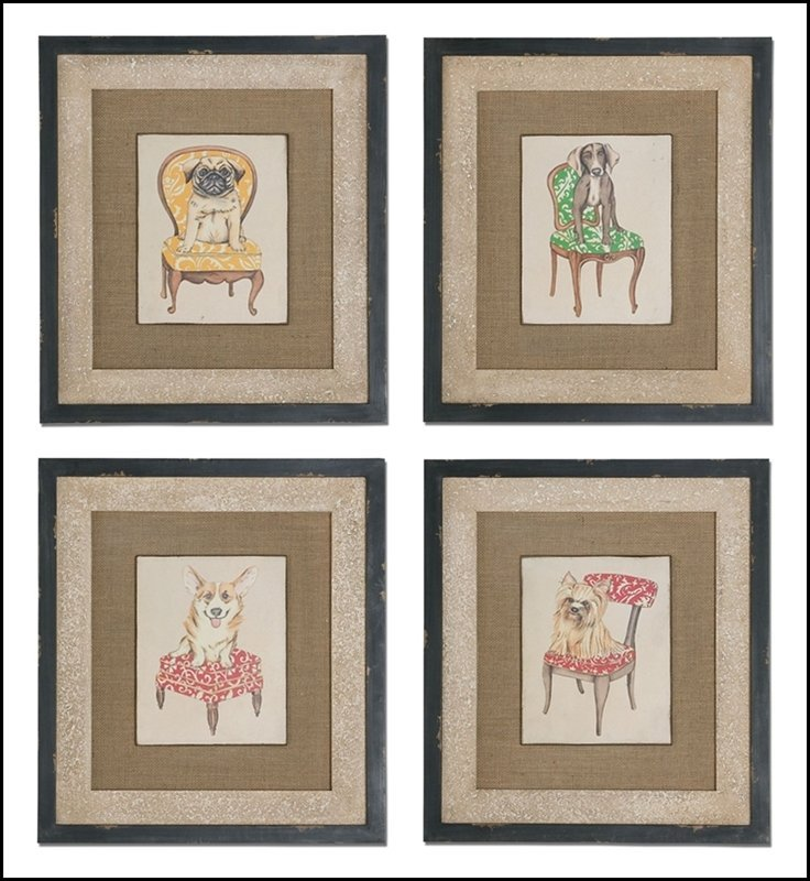 PAMPERED PETS FRAMED ART, S/4