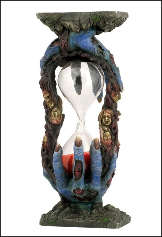 BLUE ZOMBIE HANDS SAND TIMER (RED SAND)