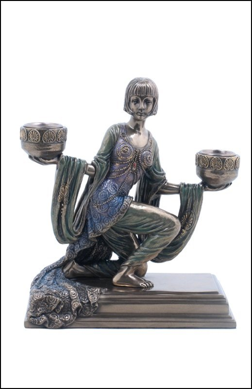 ART DECO LADY CANDLE HOLDERS - BRONZE