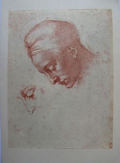 "MICHELANGELO 1970 LITHOGRAPH ""STUDY OF FEMALE HEAD"""