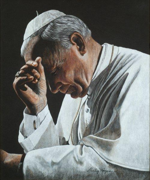 In Prayer - Pope John Paul II by Shirley Morgan