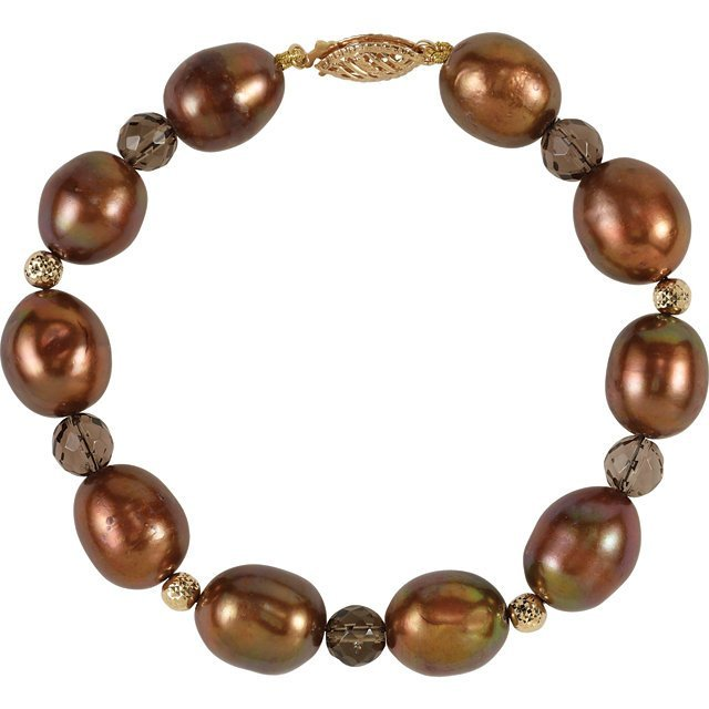FRESHWATER DYED CHOCOLATE CULTURED PEARL & SMOKY QUARTZ