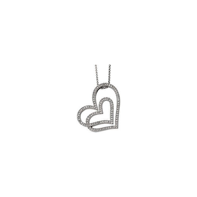1/2 CT TW DIAMOND HEART NECKLACE