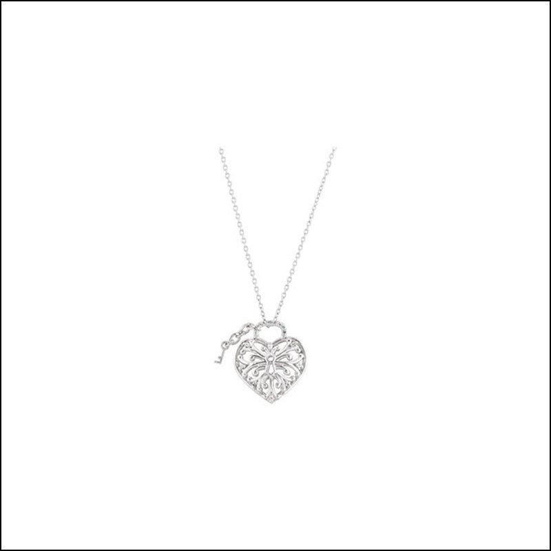 """1/10 CT TW DIAMOND HEART LOCK 18"""" NECKLACE"""