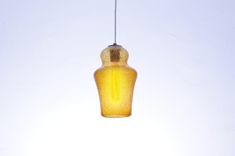 HAND BLOWN - VINTAGE PENDANT AMBER BUBBLE GLASS. STAIN