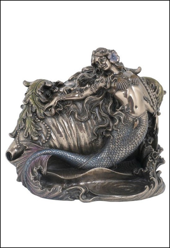 MERMAID & CONCH TRINKET BOX - BRONZE