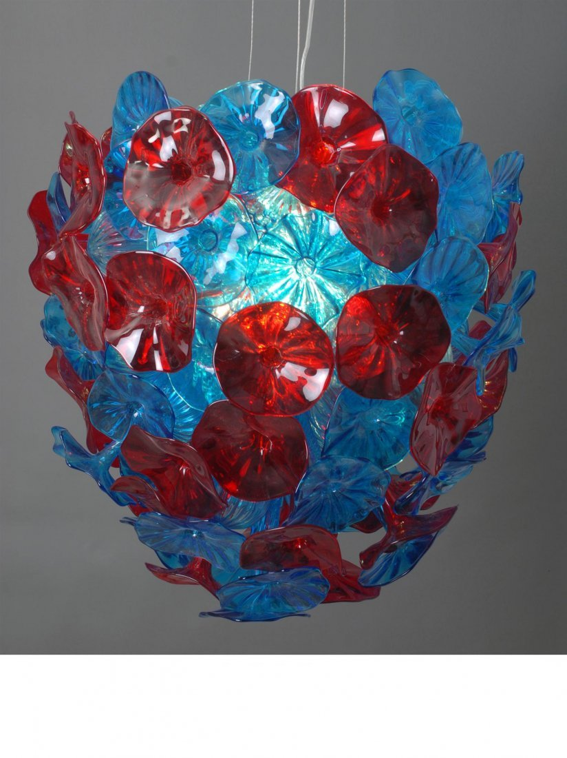 HAND BLOWN - PETITE AQUA RUBY FIORE CHANDELIER