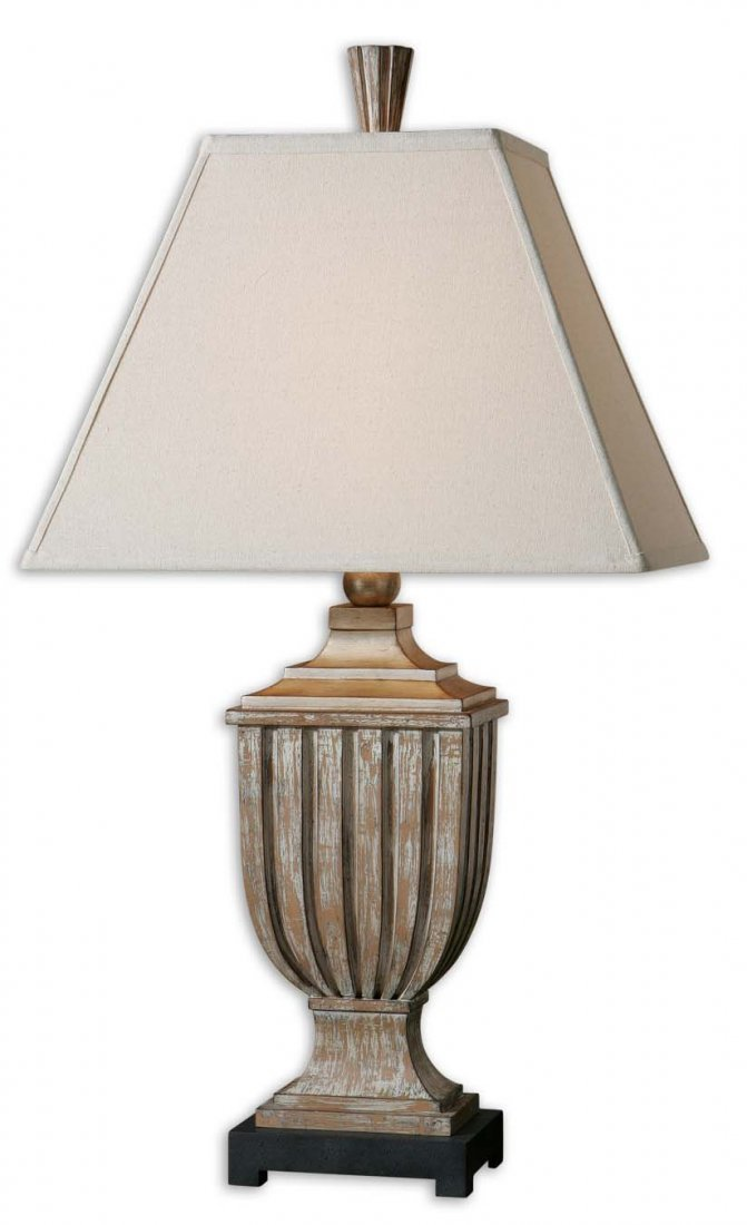 SAVIANO AGED PECAN LAMP